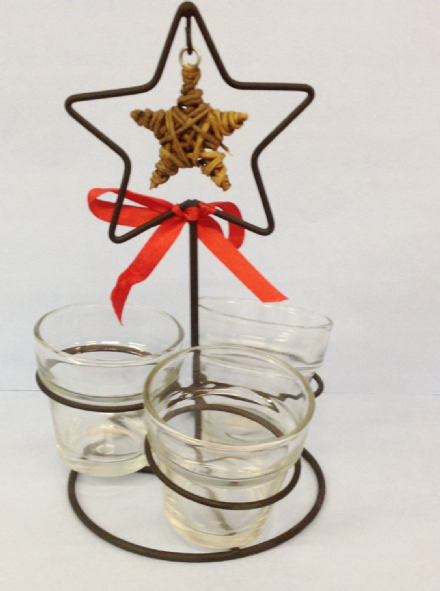 Metal Rustic Candle Holder with Woven Star and Glass Tea Light Holders